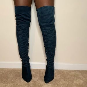 Heeled Thigh High Lace Up Boots